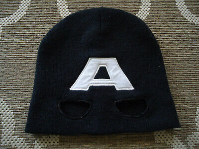 Marvel Avengers Beanie hat one size Fits Most Black & White with eyes cut - Avengers Cut Out