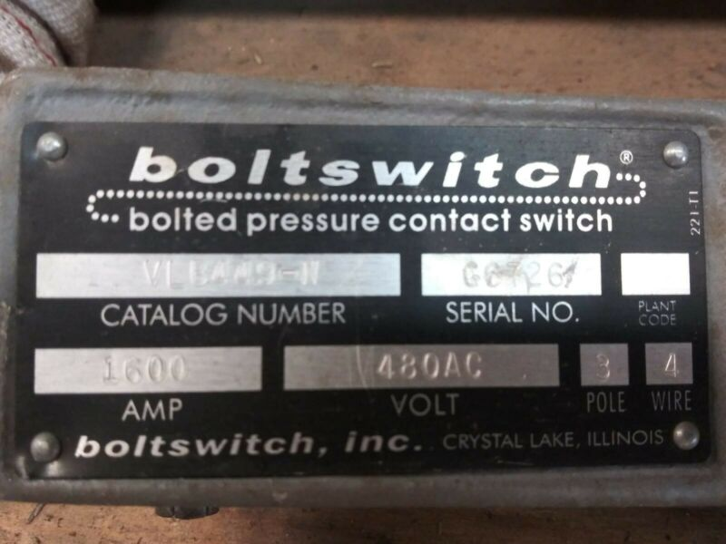 Vlb449-n Boltswitch Bolted Pressure Contact Switch - 1600amp - 480ac