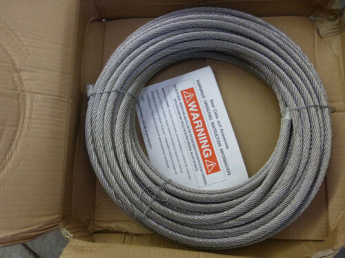 """7/16"""" DIAMETER 304 STAINLESS STEEL CABLE X 100 FT. LENGTH 7X19  STRAND CORD"""