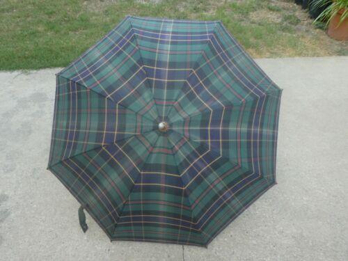 Polo Ralph Lauren Classic Plaid Umbrella w/ Hook Leather Handle