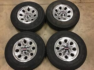 GM 6 bolt chrome wheels, new 265/70R17 winter tires