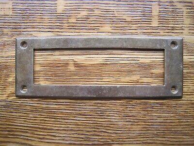 Antique brass INSIDE ESCUTCHEON  Cast Iron Mail Box Door Slot 6 1/2 X 2 3/8