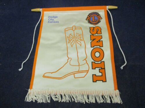 Vintage Lions Club International Banner Flag Dodge City Kansas Cowboy Boot