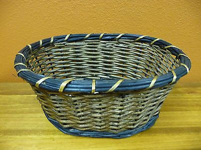 Brown Oval Basket - Oval Basket Brown With Gray At Top and Bottom
