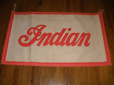 "Rare 56"" Vintage advertising circa 1940`s Indian motorcycle canvas banner sign"