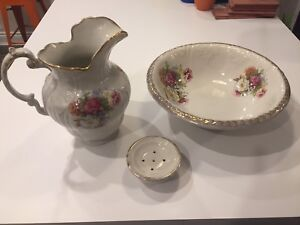 Large Antique Wash Basin, Pitcher and Soap Dish