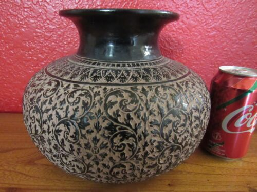 Beautiful vintage Cambodian large hand carved brass jar