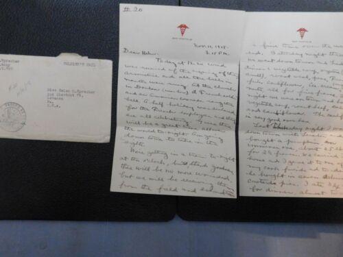 1918 WWI ARMISTICE LETTER FROM APO 767 BASE HOSPITAL 38 FRANCE SOLDIERS LETTER