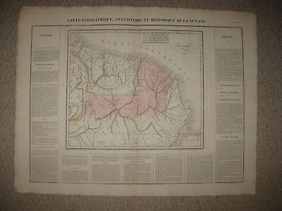 HUGE FOLIO SIZE IMPORTANT ANTIQUE 1825 GUYANA SOUTH AMERICA CARY & LEA MAP RARE