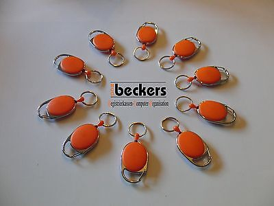 10 x Schlüsseljojo Schlüsselhalter Ausweishalter Skipasshalter Aufroller orange