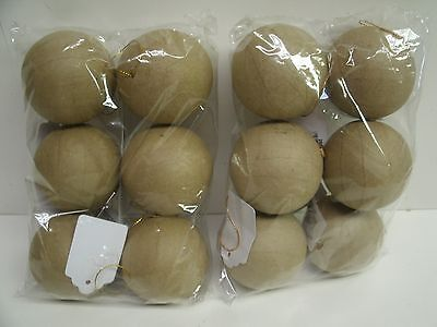 """12 Unfinished 2-1/2"""" Paper Mache Ball Ornaments for crafts Holiday Decor"""