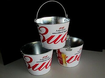 NEW 3 Budweiser Americas Lager Beer Ice Bucket Combo Lot Galvanized Metal Cooler - Galvanized Buckets Wholesale