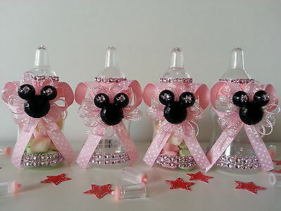12 Minnie Mouse Pink Fillable Bottles Baby Shower Favors Prizes Game Girl Decor](Pink Minnie Mouse Decorations)
