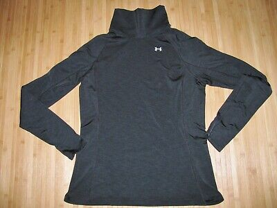 Womens UNDER ARMOUR Cozy Neck TURTLENECK Shirt LARGE Long Sleeve COLD GEAR Black