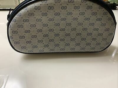 vintage gucci cosmetic bag pouch authentic 0399223045 navy blue great condition