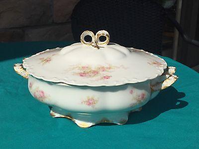 Haviland Limoges Covered Dish SCHLEIGER 456 - Pink Roses Gold Trim