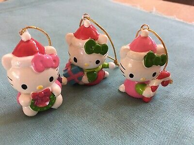 3 Vintage Hello Kitty Mini Christmas Ornaments Holiday Minatures Sanrio