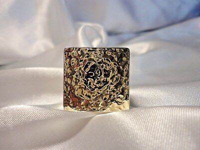 HSN Technibond Hammered Bold Square Cocktail Statement Ring Size 6 Gold Clad (Bold Square Ring)