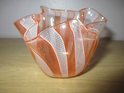 SIGNED MURANO VENINI GLASS FAZZOLETTO HANDKERCHIEF ZANFIRICO ORANGE WHITE VASE