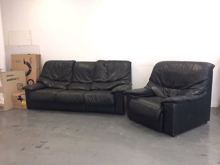 Leather black couch + armchair Albion Brimbank Area Preview