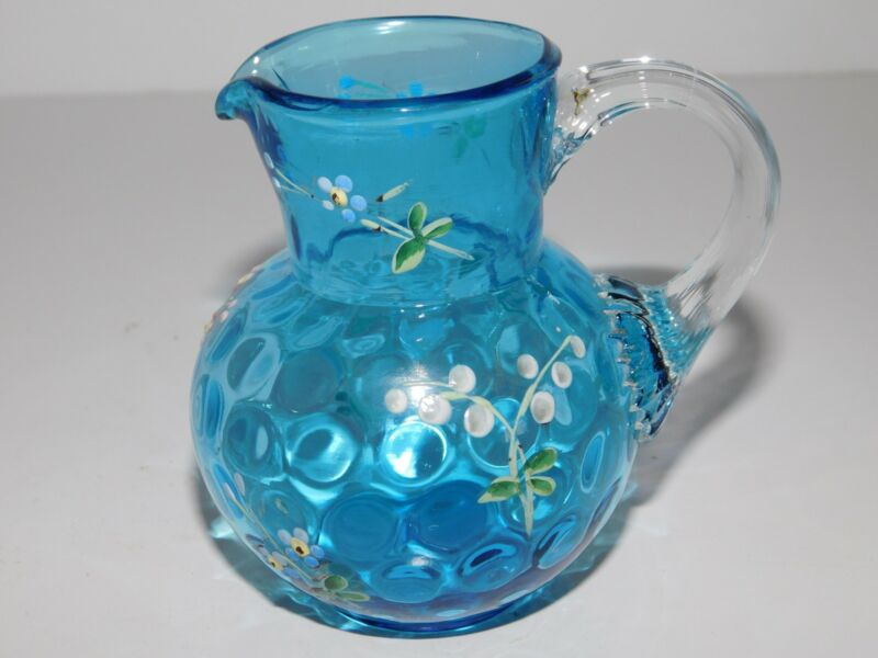ANTIQUE BLUE COIN DOT SPOT JUG ENAMELED FLOWERS FREE USA SHIPPING