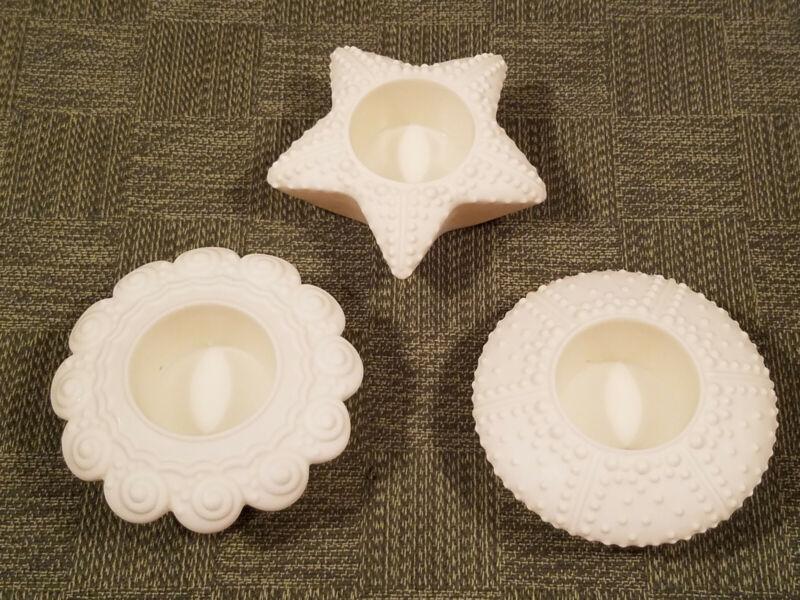 3 PartyLite SEA SHELL STARFISH Cream/White Tealight Votive Candle Holders