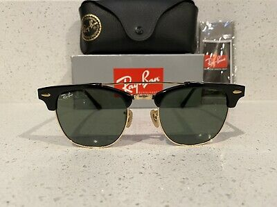 New Ray-Ban Rb3816 Clubmaster Double Bridge Black/G-15 Green Sunglasses (51mm Clubmaster)