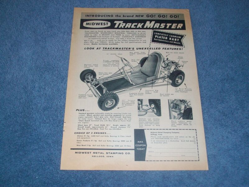 """1960 TrackMaster Karts Vintage Ad """"Introducing the Brand New GO! GO! GO!"""""""