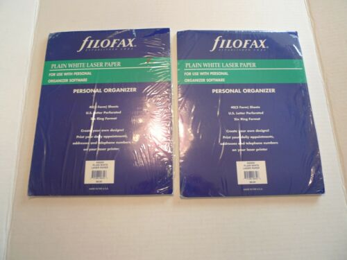 2 PACKS-FILOFAX PLAIN WHITE LASER PAPER FOR PERSONAL ORGANIZER-930200-MADE @USA
