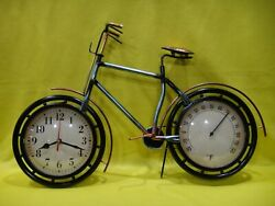 Blue Metal BICYCLE Shaped Wall or Table Clock and Temperature Art Piece - Bike