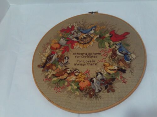 Vintage Finished Handstitched Dimensions Forest Birds Wreath - Cardinal, Blue J