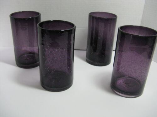 4 Mexican Hand Blown Bubble Glass Tumblers Purple Amethyst 20oz Tumbler