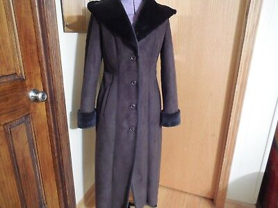 Calvin Klein faux suede shearing full length coat XS ()