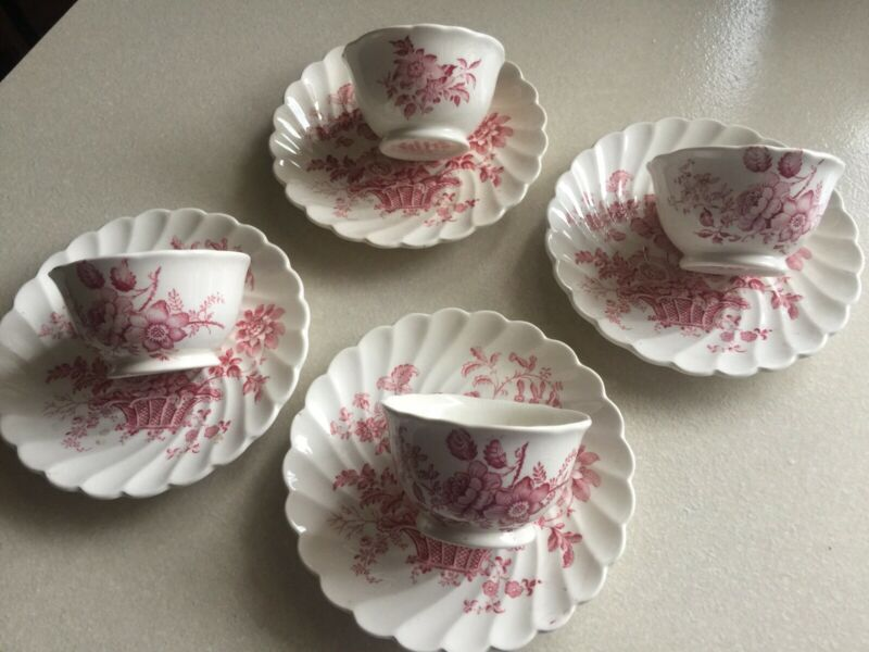 4 Royal Staffordshire Charlotte England Clarice Cliff Stoneware Cups/Saucers