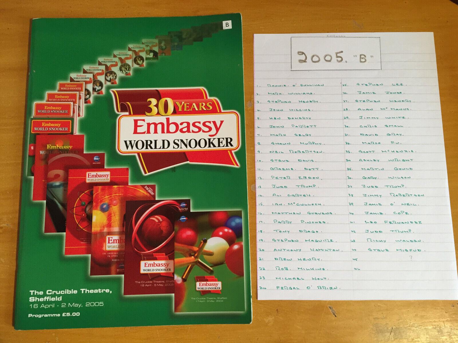2005 Signed x 45 Embassy World Professional Snooker Championship Programme vgc