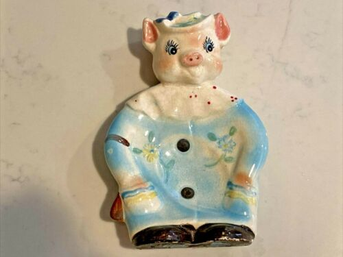 Vintage Colorful Pottery PIG SPOON REST full figure