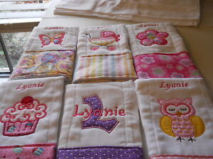 Personalized Appliqued Embroidered Baby Burp Cloth - Set of two girl