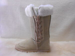 Ugg-Boots-Tall-Synthetic-Wool-Lace-Up-Size-7-Ladys-Mens-5-Colour-Beige