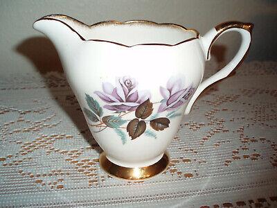 Pattern Gold Trim - Royal Ardalt Bone China Purple Rose Pattern Creamer Gold Trim - England