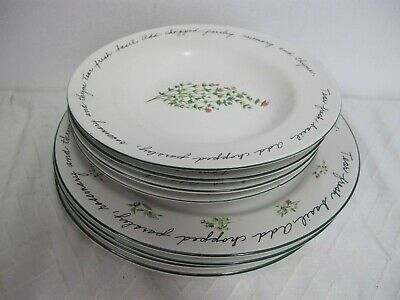 GIBSON CHINA HERB  DINNER PLATES &  WIDE RIM SOUP BOWLS 8 PCS  BASIL THYME  China Wide Rim Plates