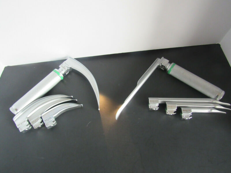 10X Propper/Heine Fiber Optic Miller+MAC Laryngoscope Blades w/ 2 Handle TESTED