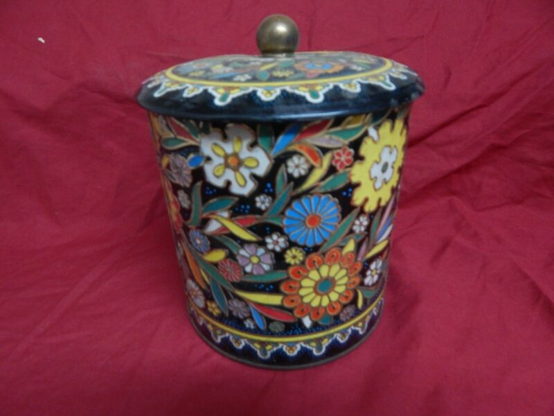 Vintage Daher Tin Container Colorful Raised Floral Metal Tin Made England 1960