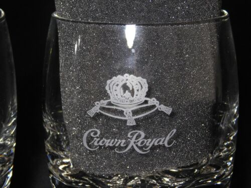 Crown Royal Bar Rocks Glasses Etched Pillow Round Whisky Set of 2 Man Cave