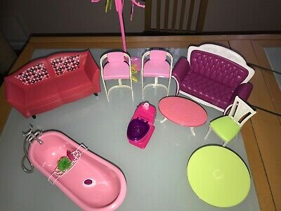 Barbie Furniture Couch Toilet paper table coat hanger tub chairs