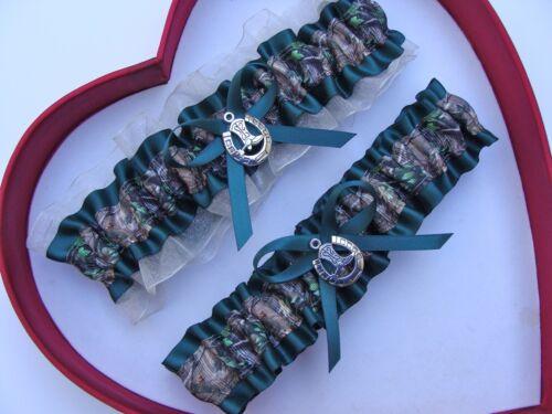 New Mossy Oak Aqua Ivory  Camouflage Camo Wedding Garter Prom GetTheGoodStuff