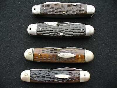 Vintage Case Tested XX Knives (3) 6445 Scout Knives (1) WR Case & Sons 6445 Used