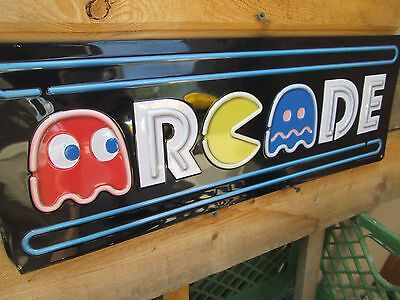 PAC MAN MS ARCADE GAME METAL COOL SIGN VINTAGE LOOK VIDEO PINBALL COIN AMUSEMENT