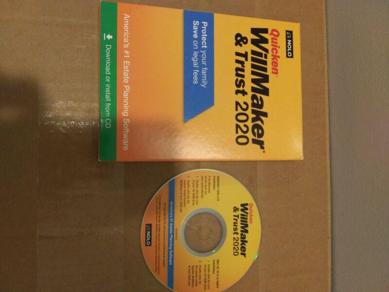 Quicken Willmaker Trust 2020 Estate Planning Mac Windows CD ONLY NO SERIAL #