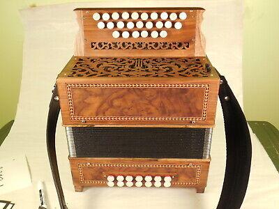 Arnold-Pariselle walnut button accordion in GC handmade reeds #463