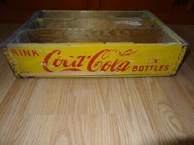 Vintage Coca-Cola Wooden Coke Bottle Yellow Crate **Vinita, Ok**
